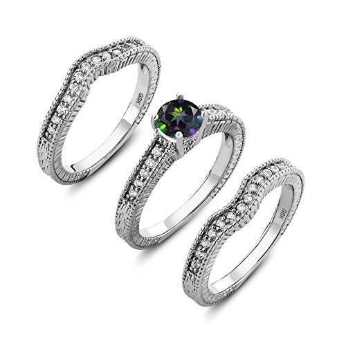 Gem Stone King 925 Sterling Silver Round Green Mystic Topaz Set of 3 Fitted Ring 1.54 cttw (Size 5)