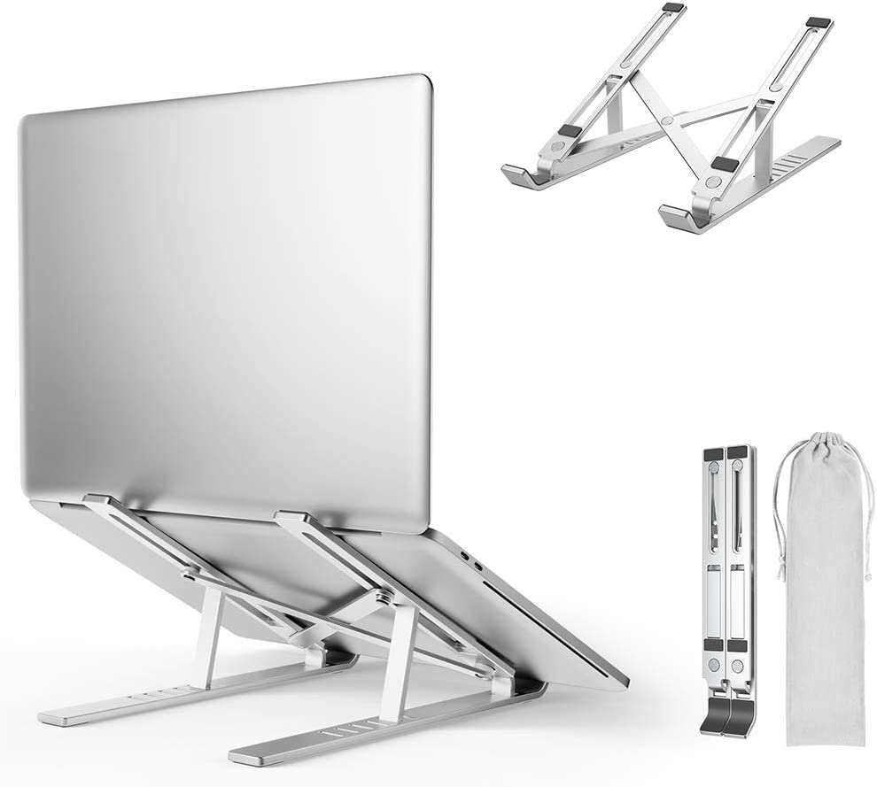 Laptop Stand, Adjustable Aluminum Lightweight Ergonomic Laptop Riser, Foldable Portable Desktop Holder Compatible with All Laptops Up to 15.6""