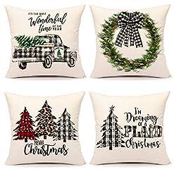 Christmas Farmhouse Home Decor 4TH Emotion Farmhouse Christmas Pillow Covers 16×16 Set of 4 Christmas Decoraions Buffalo Plaid Holiday Throw Cushion… farmhouse christmas pillow covers