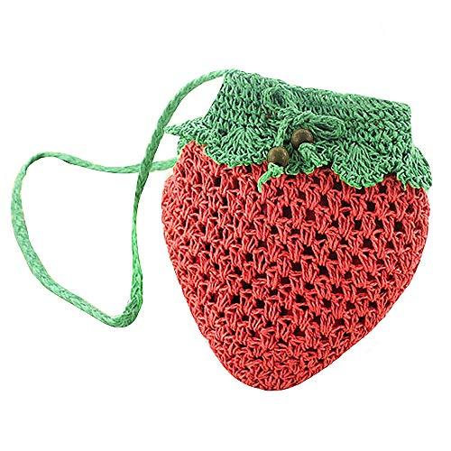 Sherry Mini Handbag Cute Fruit Straw Cross-body Bag Weave Summer Beach Travel Satchel Shoulder Bag Phone Pouch Coin Purse (Strawberry)
