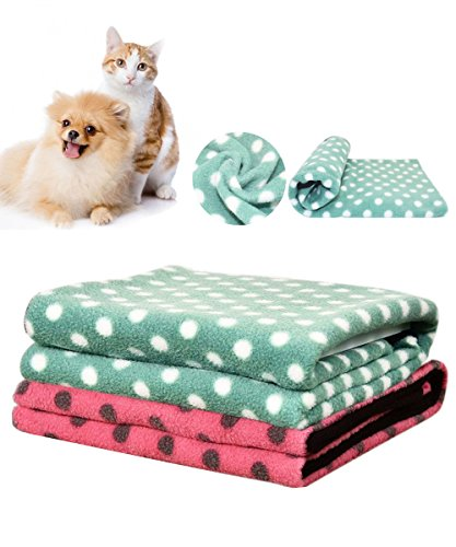 Loveone Soft Fleece Blanket with Wave Point For Dog Cat Rabbit, Pet Mat Pad Warm Soogan Put in Car/ Sofa/ Bed also Suit for Human (30 x 20 inch, Green Wave Point)