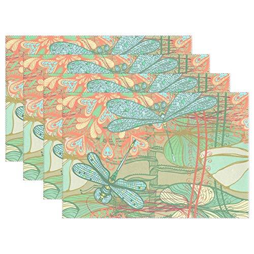Promini - Manteles Individuales Resistentes al Calor, diseño de libélulas de Animales, Lavables, de poliéster,...