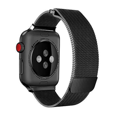 BRG Compatible Apple Watch Band 38mm, Stainless Steel Mesh Milanese Loop Adjustable Magnetic Closure Replacement iWatch Band Compatible Apple Watch Series 3 2 1 (38mm Black) by BRG (Image #1)