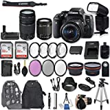 Canon EOS Rebel T6i DSLR Camera with EF-S 18-55mm f/3.5-5.6 IS STM Lens + EF 75-300mm f/4-5.6 III + 2Pcs 32GB Sandisk SD Memory + Universal Flash + Battery Grip + Filter & Macro Kits + Backpack + More