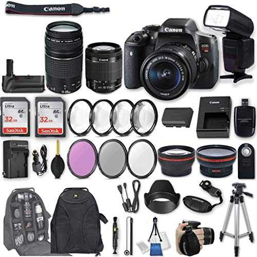 Canon EOS Rebel T6i DSLR Camera with EF-S 18-55mm f/3.5-5.6 is STM Lens + EF 75-300mm f/4-5.6 III + 2Pcs 32GB Sandisk SD Memory + Universal Flash + Battery Grip + Filter & Macro Kits + Backpack, More