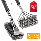 "BBQ Grill Brush Set of 2, Safe Grill Cleaning Brush Stainless Steel Bristle Free with Scraper for Porcelain, Cast Iron, Stainless Steel, Ceramic Grill Grate Cooking Grid, 18"" Grill Tools Accessories"