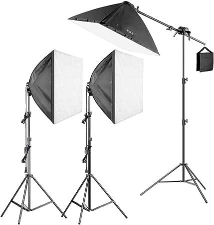 MDFGHJD Kit de iluminación de luz para softbox de 600W Pro Photography - 3 Paquetes de 24X24 Pulgadas / 60X60 Cm Softbox con Bombilla Fluorescente de 5W: Amazon.es: Hogar