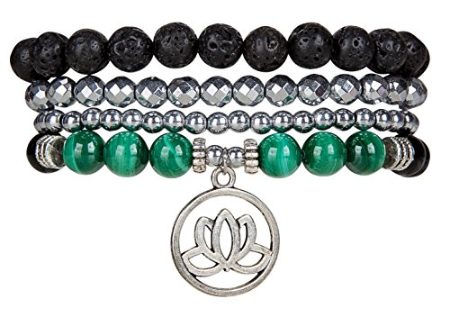 SPUNKYsoul Lotus New Beginnings Bracelet Hematite for Healing Stack Bracelet Set Collection