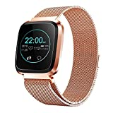 Smart Watch with Bluetooth, Fitness Tracker Heart Rate Monitor Smart Bracelet IP68 Waterproof with Health Sleep Activity Tracker Pedometer for Smartphone (Rose Gold)