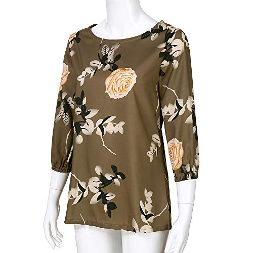 Tre Donna A A Floreale Maniche Bluse da Stampa Ansenesna Multicolore Camicetta Quarti Lunghe Donna con HOTYwW0