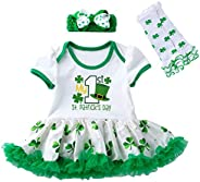 Xifamniy Baby Girls My First St. Patrick's/Easter Day Outfit 4 Pcs Bodysuit Tutu Skirt Headband Leg Set Newbor
