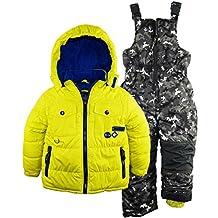 Rugged Bear Little Boys' Solid Patch Pocket Snowsuit Ski Bib Pant Set, Acid, 6