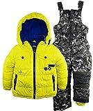 Rugged Bear Little Boys' Solid Puffer Jacket Snowsuit Camo Ski Bib Pant Set, Acid, 5