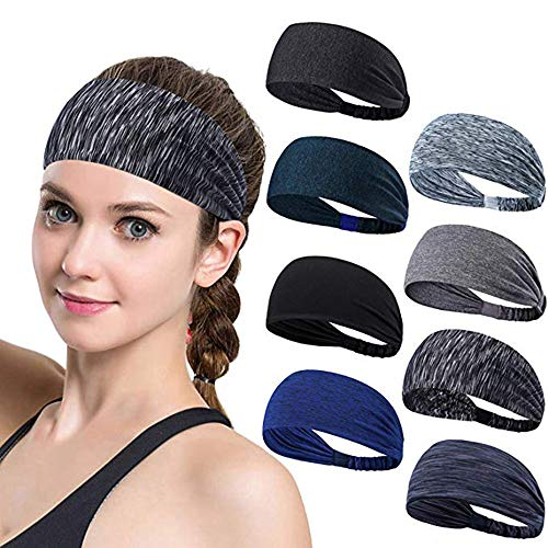 Set of 8 Women's Yoga Athletic Workout Headband for Running Sports Travel Fitness Non Slip Lightweight Multi Style Bandana Headbands Headscarf fits All Men & Women