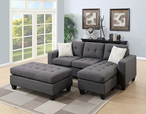 Modern Living Room Bobkona All in One Sectional Blue Grey Polyfiber Reversible Sectional Sofa Chaise Pillows XL-Ottoman