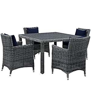 Modern Contemporary Urban al aire libre Patio cinco PCS Juego de sillas de comedor y mesa, color azul marino, ratán