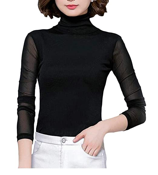 f36819053 Image Unavailable. Image not available for. Color: Cromoncent Women Tee  Long-Sleeve Solid Color Top Turtle Neck Vogue T-Shirts Black