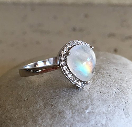 Pear Shape Moonstone Ring- Rainbow Moonstone Promise Ring- Halo Moonstone Engagement Ring- June Birthstone Ring- Sterling Silver Ring by Belesas