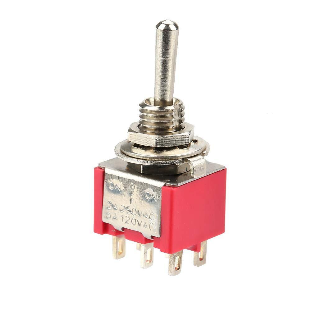 250VAC 5A 120VAC 10 piezas ON-OFF-ON Interruptor de palanca moment/áneo DPDT 6 pines 6 mm 2A Interruptores de reemplazo industrial Interruptores de palanca industriales