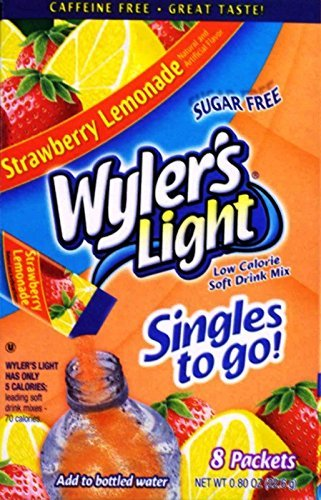 Wylers Light Singles - Wylers Light Singles to Go Drink Mix, Strawberry Lemonade, 8 count (Pack of 6)