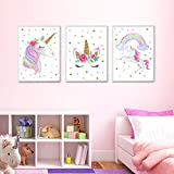 """EVAIL Unicorn Wall Posters Rainbow Unicorn Canvas Wall Art Prints Painting Decoration Pictures Set of 3 (8""""x11.8"""" for Girls Kids Bedroom Nursery Wall Decor Gift,No Frame"""