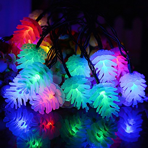 30 Pine Cone Solar Garden LED String Lights Multi-color Outdoor for Christmas Tree Halloween Holiday Decor Wedding Party Light Waterproof, Patio Fence Home Decorative Night Lamp, 20ft, 8 Modes (Line Tree Out Christmas)