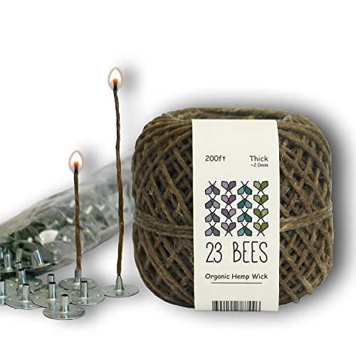 (23 Bees 100% Organic Hemp Candle Wick + Wick Sustainer Tabs, 200ft(Thick) x 200pcs)