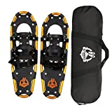 ENKEEO Light Weight Aluminum Alloy Terrain Snowshoes Kit with Carry Bag, Adjustable Ratchet Bindings, 160lbs. Capacity, Black and Orange, 25 inches