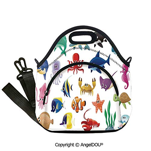 AngelDOU Whale waterproof neoprene lunch bags Variety of Marine Organisms Stingray Squid Sea Star Seahorse Sailfish Lobster Artwork insulation cold portable outdoor picnic lunch 12.6x12.6x6.3(inch)