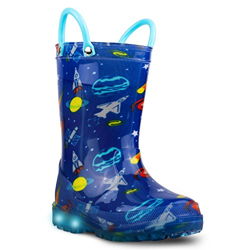 Chillipop Light Up Rainboots For Boys, Girls & Toddlers With Fun Kid Prints With 5 Lights by Chillipop