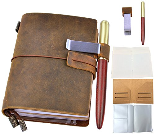 Leather Journal Writing Notebook with Wood Pen - Leafpaq Vintage Refillable Handmade Genuine Leather Travel Diary for Men & Women, Bound Daily Notepad Gift for Art Sketchbook to Write in, 5.3 x 4.1