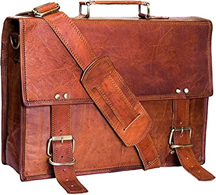 Urban Leather 14.75 inch Briefcase Attaché for Professionals | Classic Vintage Brown Handmade Satchel Shoulder Messenger Bag for Men | Can accommodate ...