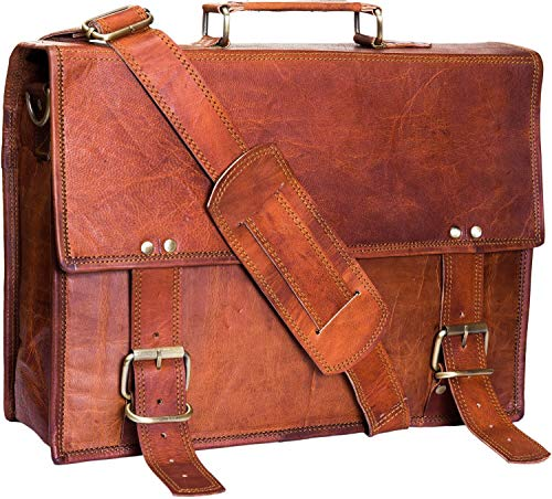 Urban Leather 14.75 inch Briefcase Attaché for Professionals | Classic Vintage Brown Handmade Satchel Shoulder Messenger Bag for Men | Can accommodate Laptop/Tablets up to 13.5 inches only