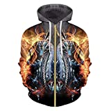 Spring Fall Casual Mens Cool Print Fire Dragon 3D Sweatshirt Couple Hooded Hoody