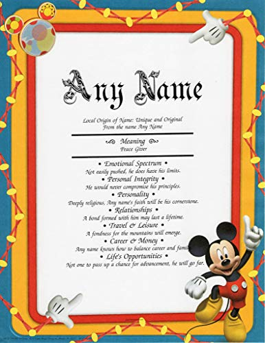 Personalized Holiday Mickey Mouse - DISNEY Mickey Mouse - Personalized ANY First Name Meaning Keepsake Print 8.5
