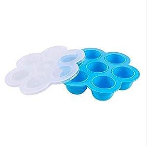 SAYGOGO 7-Hole Silicone Children's Food Supplement Box/Crisper/Jelly Ice Cube, Blue, 7 Holes, 8.25x8.25x1.97