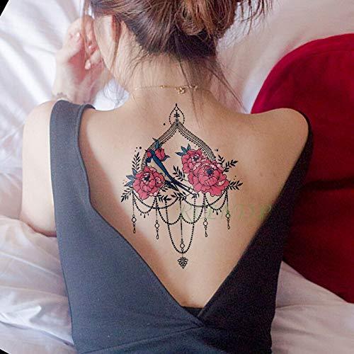tzxdbh Impermeable Etiqueta engomada del Tatuaje de peonía Collar ...