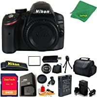 Nikon D3200 DSLR Camera Body + 64 GB Memory Card + Case + Reader + 6PC Starter set + Microfiber Cloth + Extra Charger - International Model