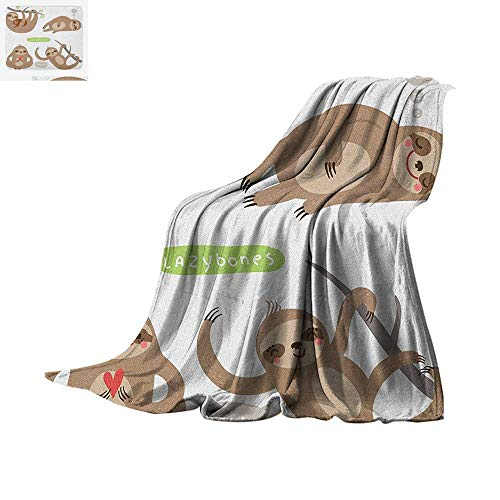 Sloth Super Soft Lightweight Blanket Childish Collection of Funny Cute Lazy Sloths Hugging Family Romance Love Custom Design Cozy Flannel Blanket 50