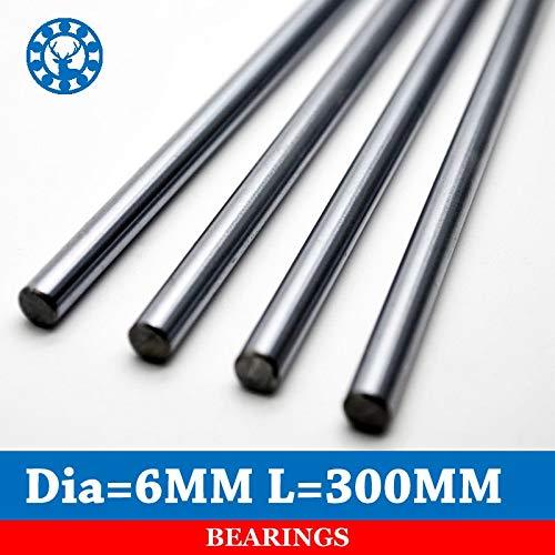 Huscus 4 Pcs 6mm 300mm Linear Shaft Chrome Round Harden Steel Rod Bar Cylinder Linear Rail for 3D Printer - (Length: 300mm, Diameter: 6mm)