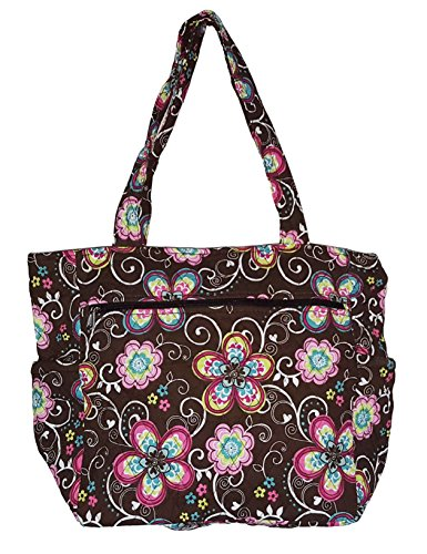 Bohemian Print Quilted Multipurpose Market Beach Large Tote Bag (Flower - ()