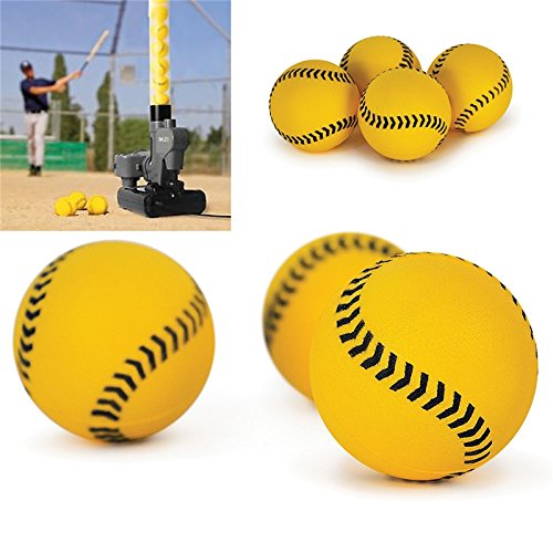 Training Baseballs Foam (iNextStation Mini Rubber Baseballs Training Baseball for Hitting and Kids Training (1.5 inch Diameter)(Pack of 12) (Yellow))