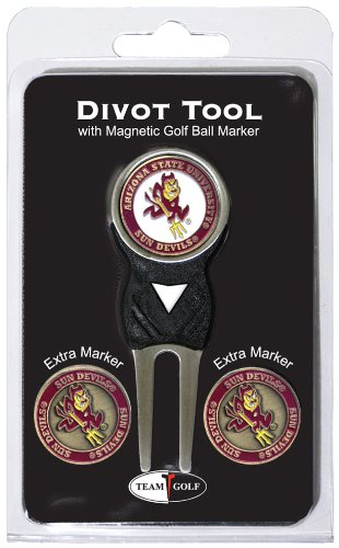 (Team Golf NCAA Arizona State Sun Devils Divot Tool with 3 Golf Ball Markers Pack, Markers are Removable Magnetic Double-Sided Enamel)