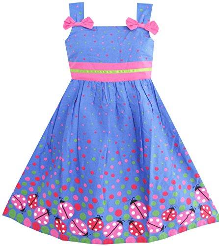 Sunny Fashion Girls Dress Blue Bug Pink Dot Size 6
