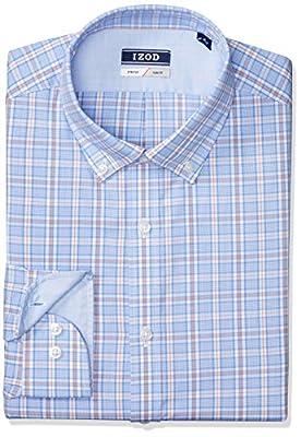 IZOD Men's Dress Shirts Slim Fit Stretch Plaid