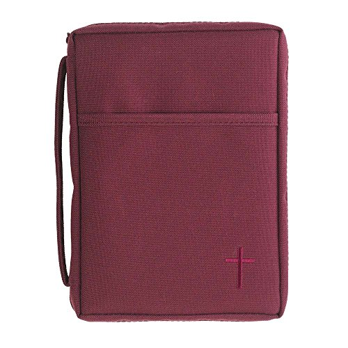 Burgundy Cross Reinforced Polyester Bible Cover Case with Handle, Large