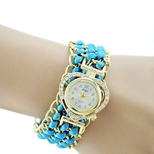 Price comparison product image BCDshop Women Rope Braid Bracelet Wrist Watch Hot Sale Fashion Luxury Crysal Wristband Watch (Light blue,  alloy)