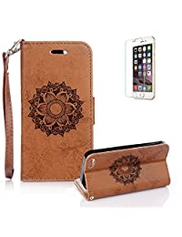 iPhone 5/5S/SE Case [with Free Screen Protector], Funyye Classic Premium Folio PU Leather Wallet Magnetic Flip Cover and [Credit Card Holder Slots] Mandala Flower Patterns Design Protective Case Cover for iPhone 5/5S/SE -Brown