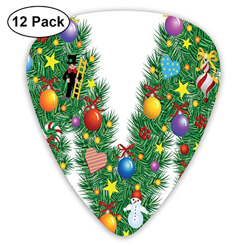 Guitar Picks - Abstract Art Colorful Designs,Festive Cute Colorful Figures On Letter M Winter Season Theme Snowman Holly Berry,Unique Guitar Gift,For Bass Electric & Acoustic Guitars-12 Pack