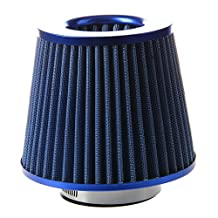 Car Air Filter - SODIAL(R) Universal Car Air Filter Vehicle Induction Kit High Power Mesh Blue Finish Sport